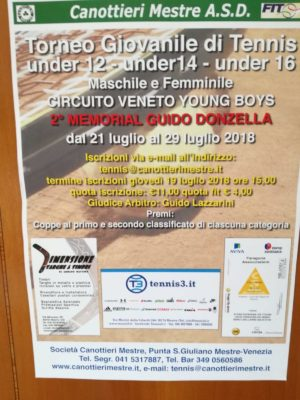 Tennis: in partenza il Memorial Guido Donzella Under 12-14-16