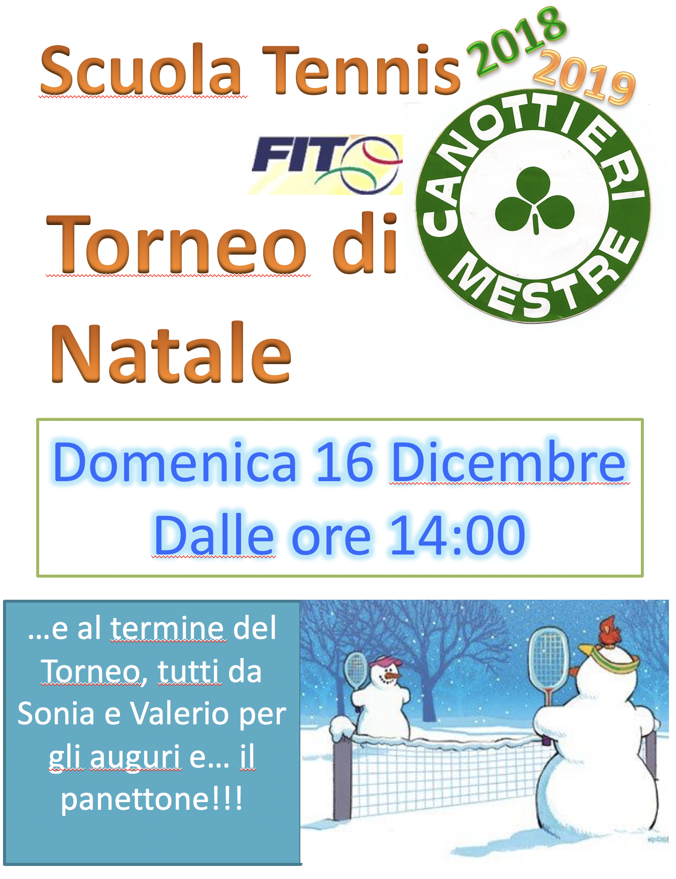 Auguri Di Natale Tennis.Tennis Torneo Di Natale Canottieri Mestre Asd