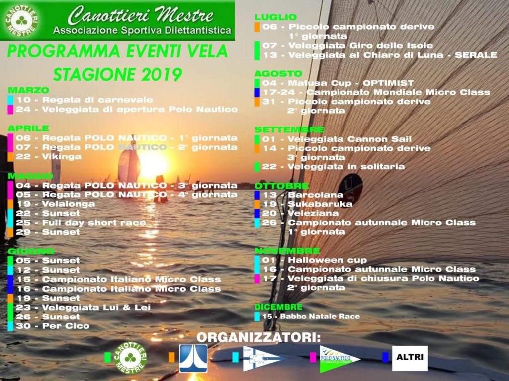 Calendario Manifestazioni Veneto.Presentazione Calendario Manifestazioni Veliche 2019