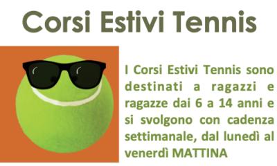 Tennis: corsi estivi settimanali per ragazzi/e