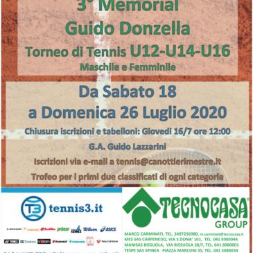 Tennis: i tabelloni del Memorial Donzella